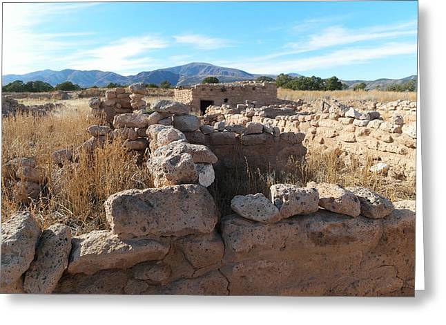Ruins At The Puye Cliff Dwellings New Mexico Greeting Card by Jeff Swan