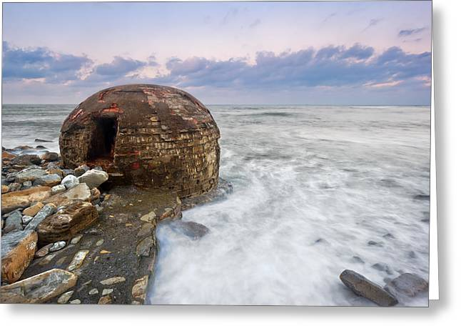 Pais Vasco Greeting Cards - ruins of abandoned bunker on Azkorri beach Greeting Card by Mikel Martinez de Osaba