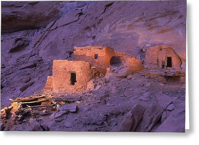 Pre Columbian Architecture And Art Greeting Cards - Ruins Of Ancient Pueblo Indian Or Greeting Card by Ira Block