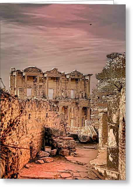 Ruins Of Ephesus Greeting Card by Tom Prendergast