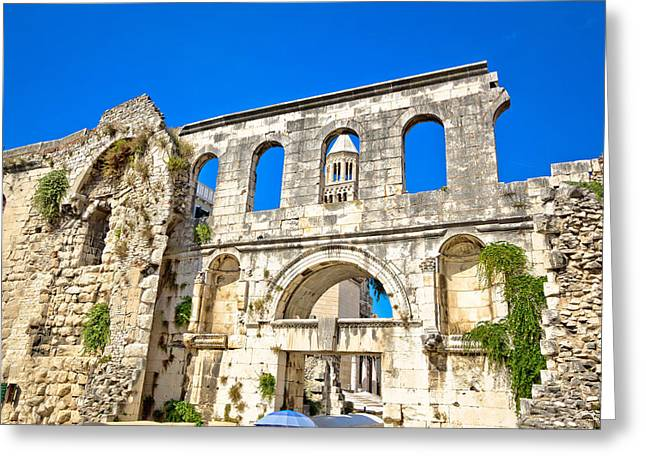 Medieval Temple Greeting Cards - Ruins of historic city of Split  Greeting Card by Dalibor Brlek