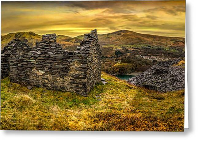 Dilapidated Digital Art Greeting Cards - Ruins of Snowdonia Panorama Greeting Card by Adrian Evans