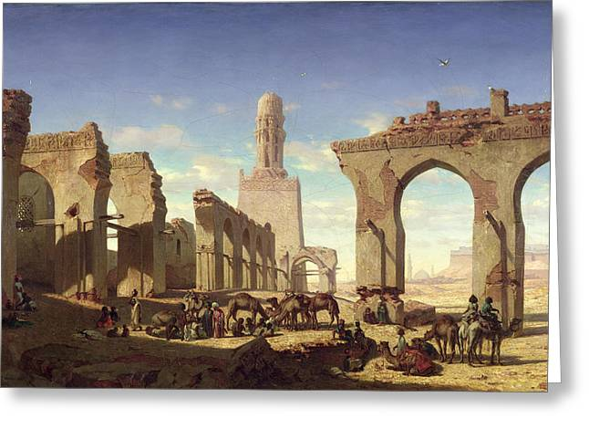 Ruins Paintings Greeting Cards - Ruins of the Mosque of the Caliph El Haken in Cairo Greeting Card by Prosper Georges Antoine Marilhat