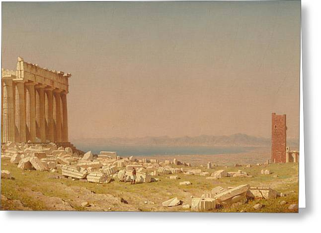 Ruins Of The Parthenon Greeting Card by Sanford Robinson Gifford