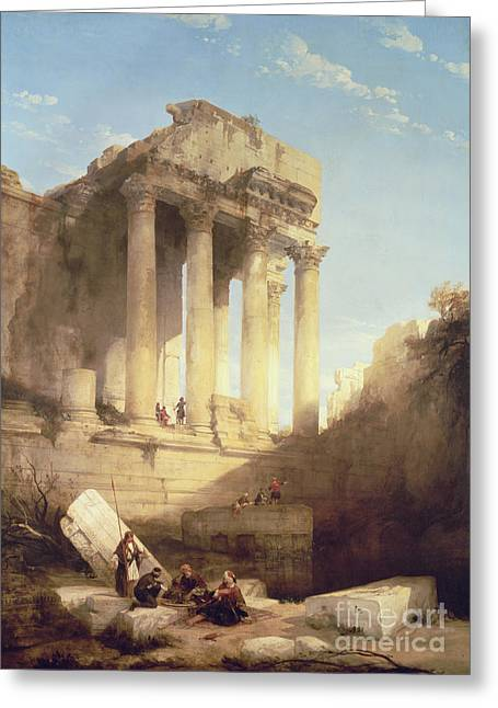 Greek Ruins Greeting Cards - Ruins of the Temple of Bacchus Greeting Card by David Roberts