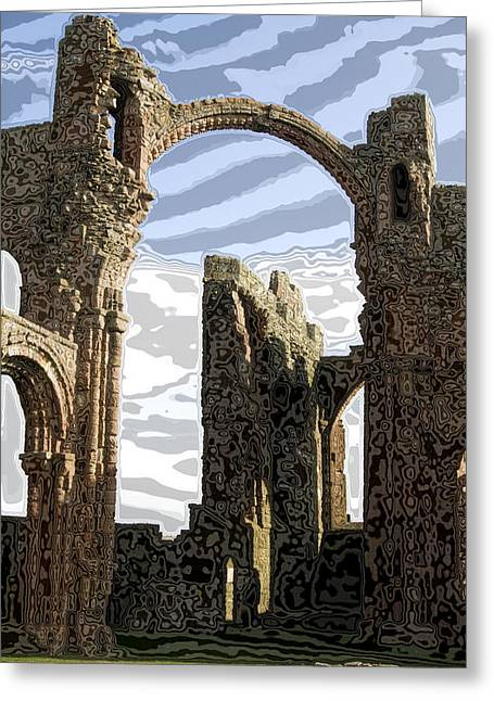 Arch Glass Greeting Cards - Ruins on the Holy Island Greeting Card by Carl Purcell