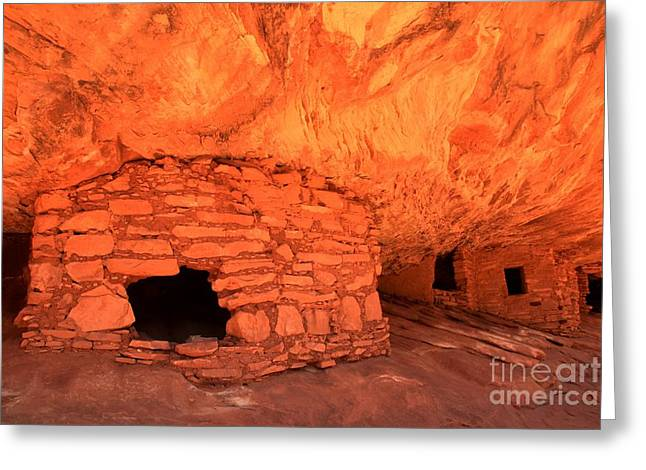 Ancient Ruins Greeting Cards - Ruins Under The Flames Greeting Card by Adam Jewell