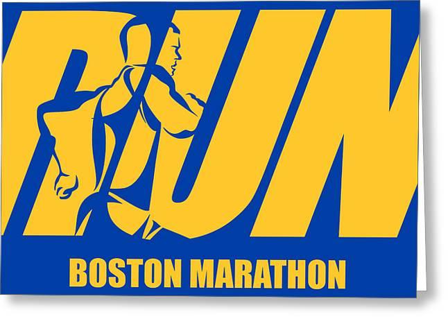 Run Boston Marathon Greeting Card by Joe Hamilton