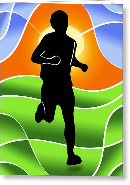 Triathlon Greeting Cards - Run Greeting Card by Stephen Younts