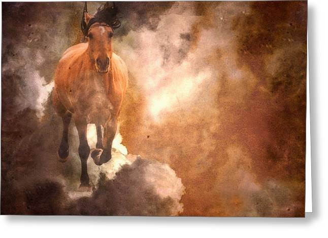 Run With Thunder Greeting Card by Ron  McGinnis