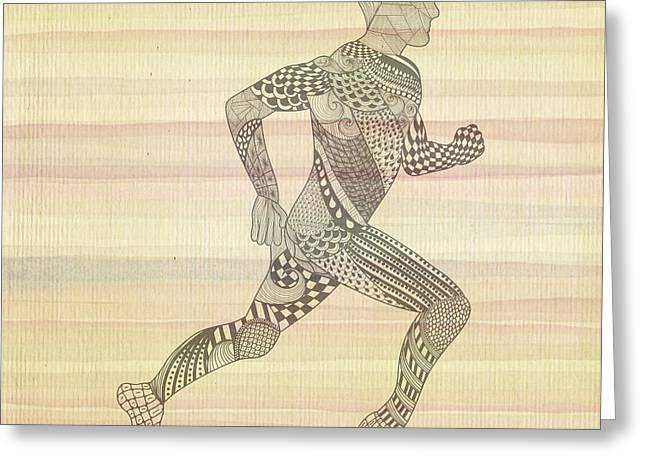 Runner Mixed Media Greeting Cards - Runner Greeting Card by Anita Fugoso