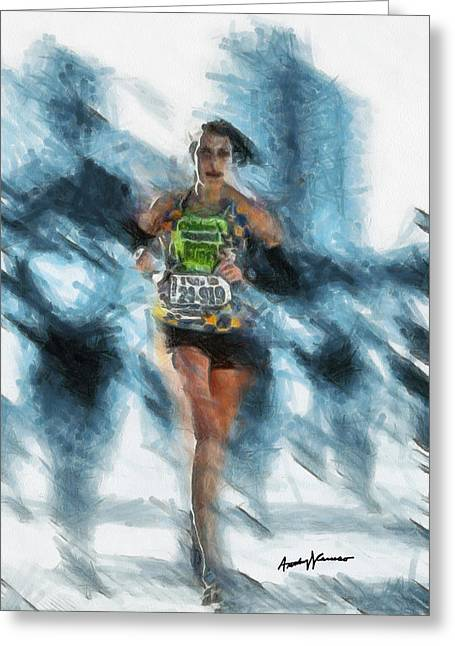 Portrait Digital Art Greeting Cards - Runner Greeting Card by Anthony Caruso