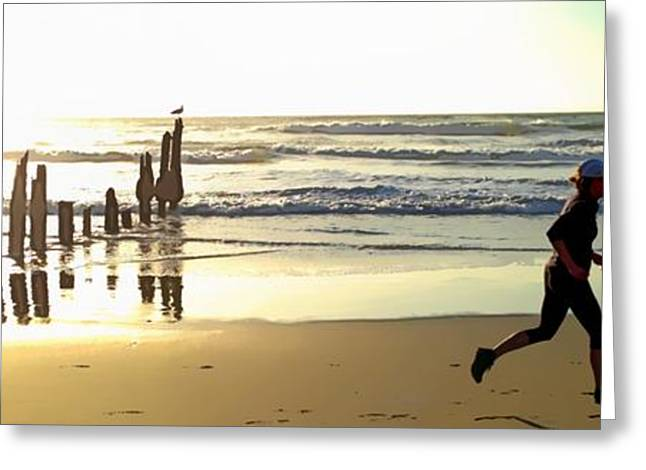 Jogging Greeting Cards - Runner at Fort Funston Greeting Card by Mercedes Romero