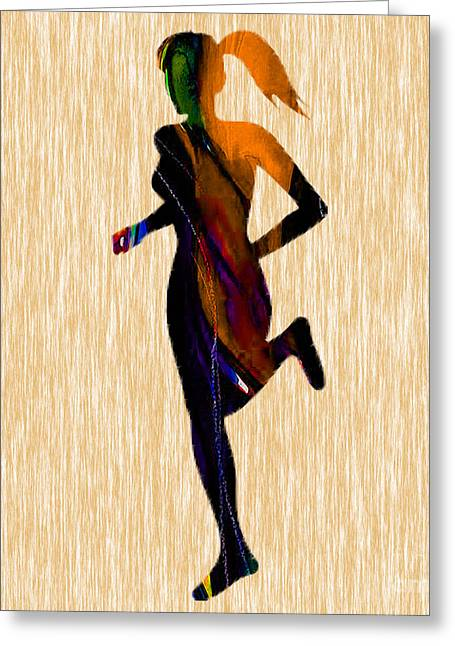 Runner Greeting Card by Marvin Blaine