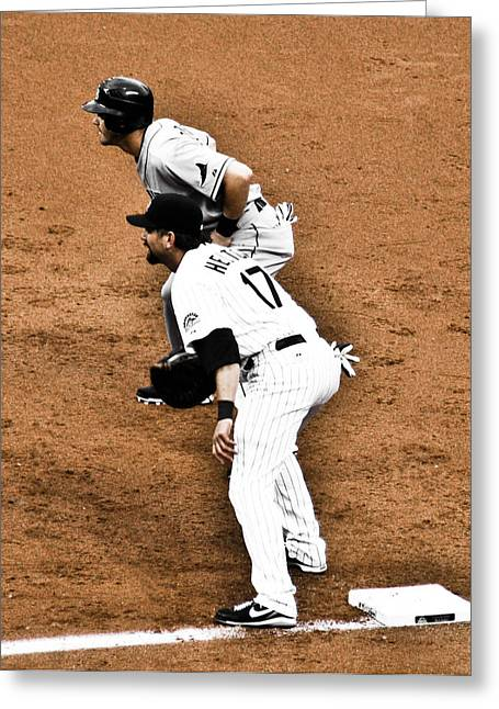 Todd Helton Greeting Cards - Runner on First Greeting Card by Marilyn Hunt