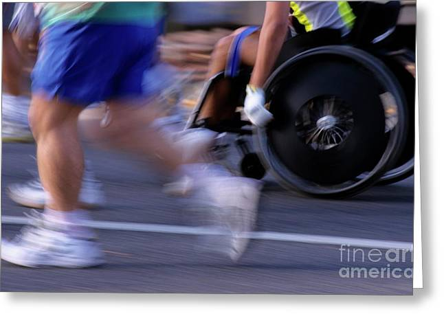 Impairment Greeting Cards - Runners and disabled people in wheelchairs racing together Greeting Card by Sami Sarkis