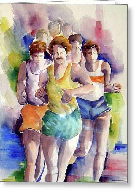 Recently Sold -  - Jogging Greeting Cards - Runners Greeting Card by Imelda Gregov