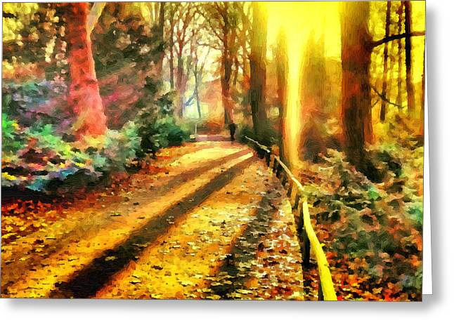 Jogging Greeting Cards - Runners in Tiergarten Greeting Card by Ralph van Och