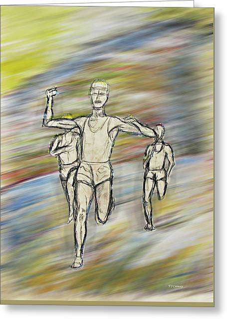 Runners Greeting Card by Tom Conway