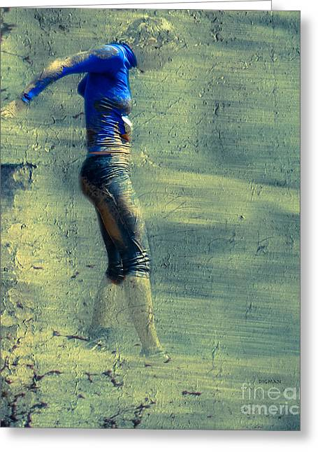 Recently Sold -  - Runner Greeting Cards - Running Blues  Greeting Card by Steven  Digman