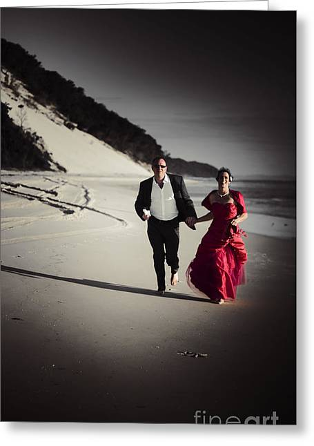 Running Bride And Groom Greeting Card by Jorgo Photography - Wall Art Gallery
