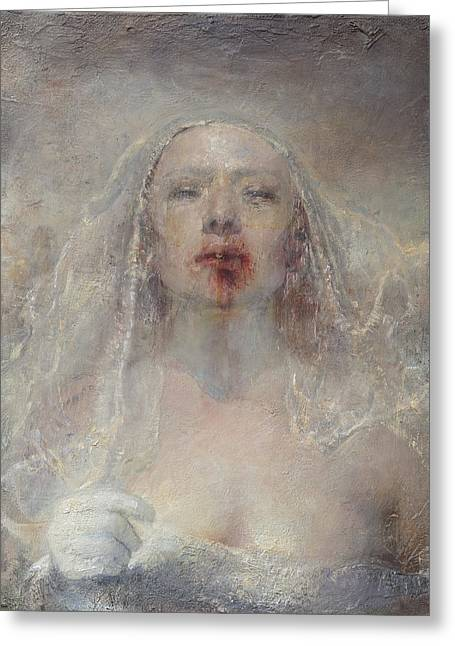 Family Love Greeting Cards - Running Bride Greeting Card by Odd Nerdrum