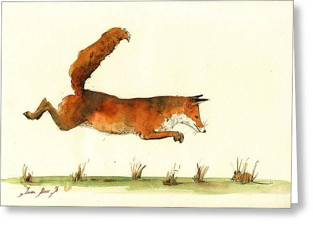 Running Fox Greeting Card by Juan  Bosco