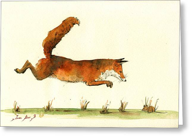 Fox Greeting Cards - Running fox Greeting Card by Juan  Bosco