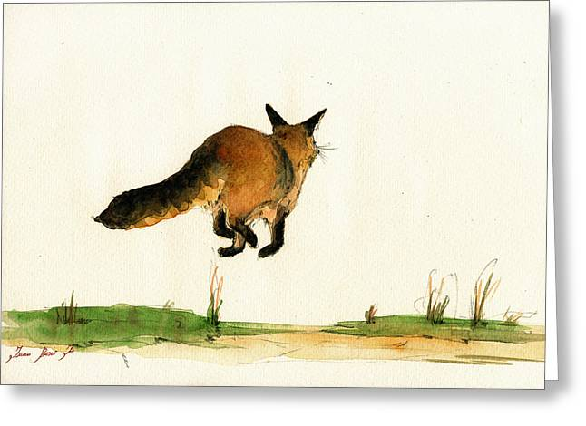 Fox Greeting Cards - Running fox painting Greeting Card by Juan  Bosco