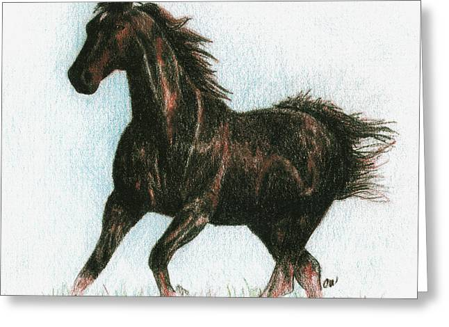 Running Free Greeting Card by Arline Wagner