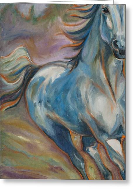 Quarter Horse Greeting Cards - Running Free Greeting Card by Sky Evans