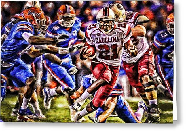 Running Back Paintings Greeting Cards - Running in the Swamp Greeting Card by Dwayne  Graham