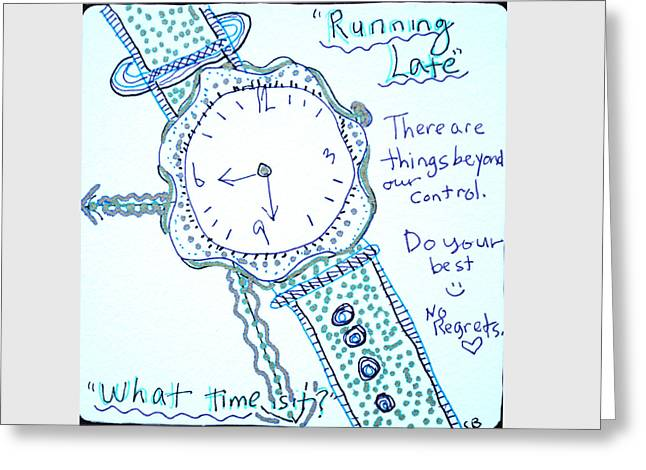 Pen And Ink Drawing Greeting Cards - Running Late Greeting Card by The Sandwich  Woman