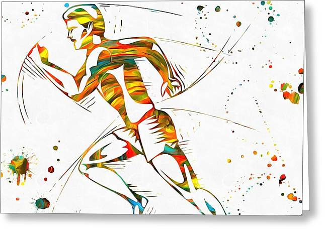 Training Mixed Media Greeting Cards - Running Man Paint Splatter Greeting Card by Dan Sproul