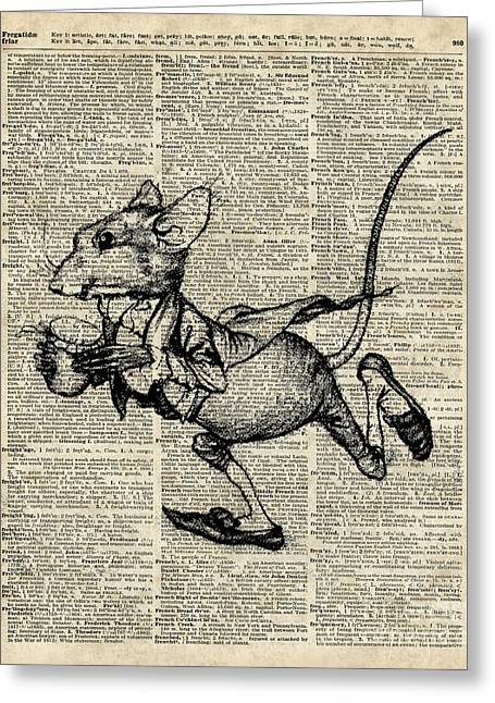 Talking Mixed Media Greeting Cards - Running Mouse Greeting Card by Jacob Kuch