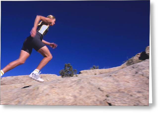 Rock Slope Greeting Cards - Running On Comb Ridge, Near Bluff, Utah Greeting Card by Bill Hatcher