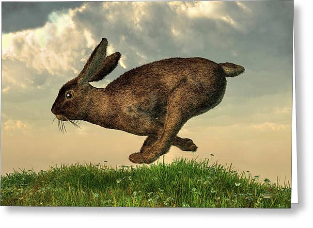 Hare Digital Art Greeting Cards - Running Rabbit Greeting Card by Daniel Eskridge