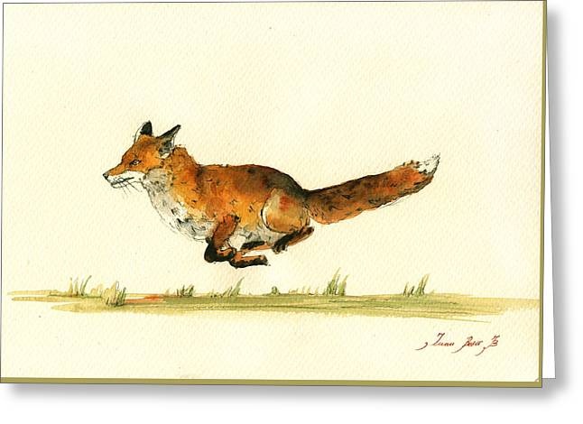 Red Fox Greeting Cards - Running red fox Greeting Card by Juan  Bosco