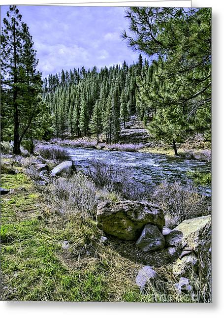 Water Flowing Greeting Cards - Running River-2 Greeting Card by Nancy Marie Ricketts