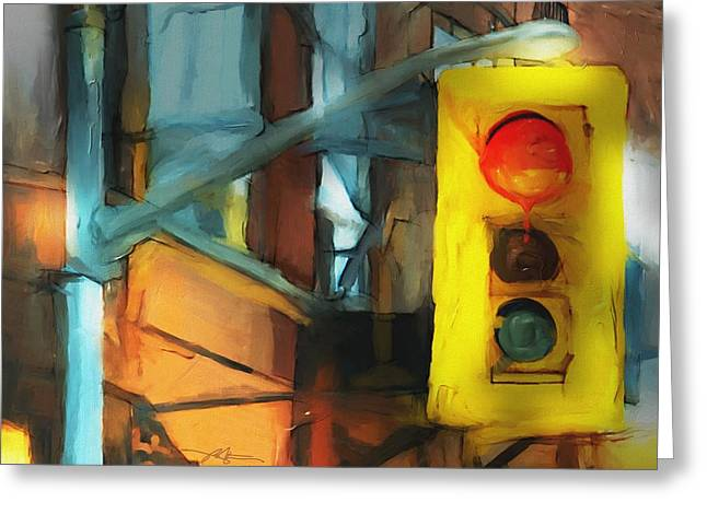 Stoplight Greeting Cards - Running The Red Greeting Card by Bob Salo