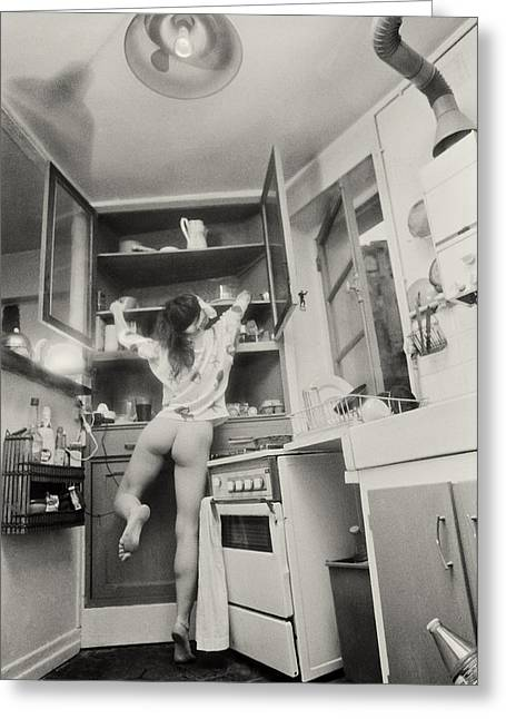 Running Through The Kitchen Greeting Card by Philippe Taka