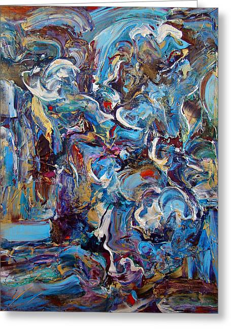 Abstract Movement Greeting Cards - Running To Help Greeting Card by Helen Closs