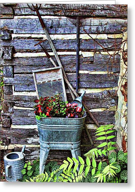 Wash Tubs Greeting Cards - Rural American Graden Scene Greeting Card by Linda Phelps