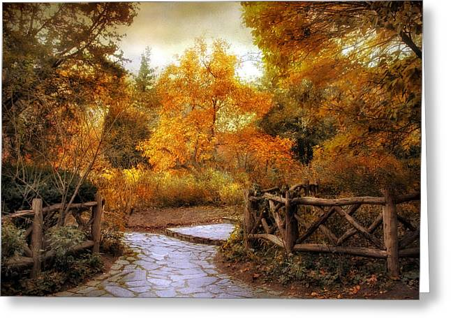 Stepping Stones Greeting Cards - Rural Autumn Entrance Greeting Card by Jessica Jenney
