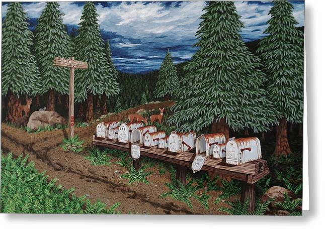 Gravel Road Paintings Greeting Cards - Rural Delivery Greeting Card by Katherine Young-Beck