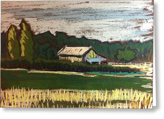 Sheds Pastels Greeting Cards - Rural Farm Greeting Card by Tim Bruneau