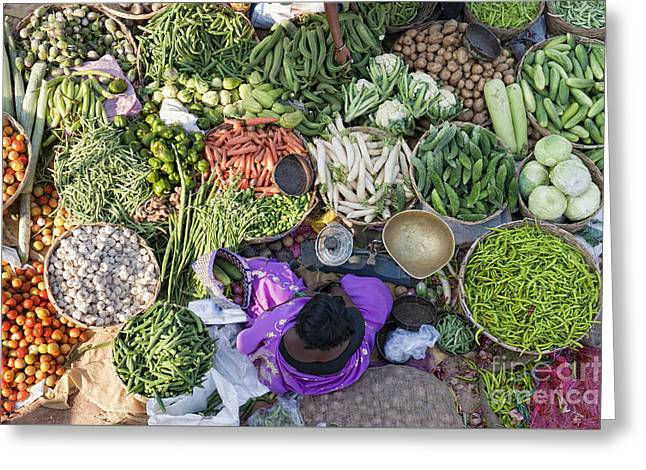 Rural Indian Vegetable Market Greeting Card by Tim Gainey