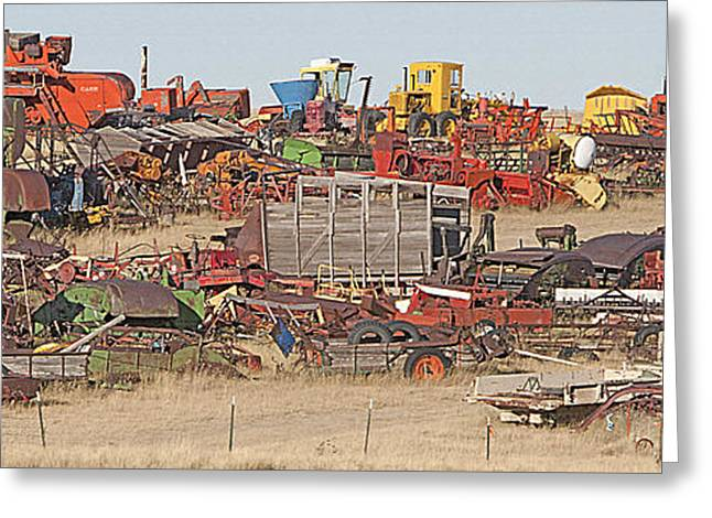 Junk Mixed Media Greeting Cards - Rural Junkyard Greeting Card by Steve Ohlsen