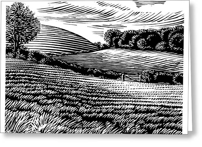 Linocut Greeting Cards - Rural Landscape, Woodcut Greeting Card by Gary Hincks