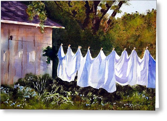 Rural Laundromat Greeting Card by Marsha Elliott